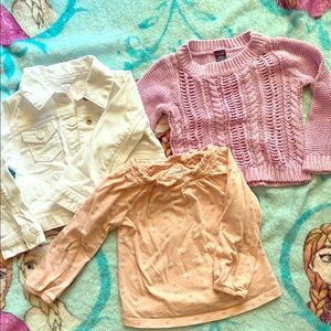 EUC baby gap jean jacket, sweater, and shirt